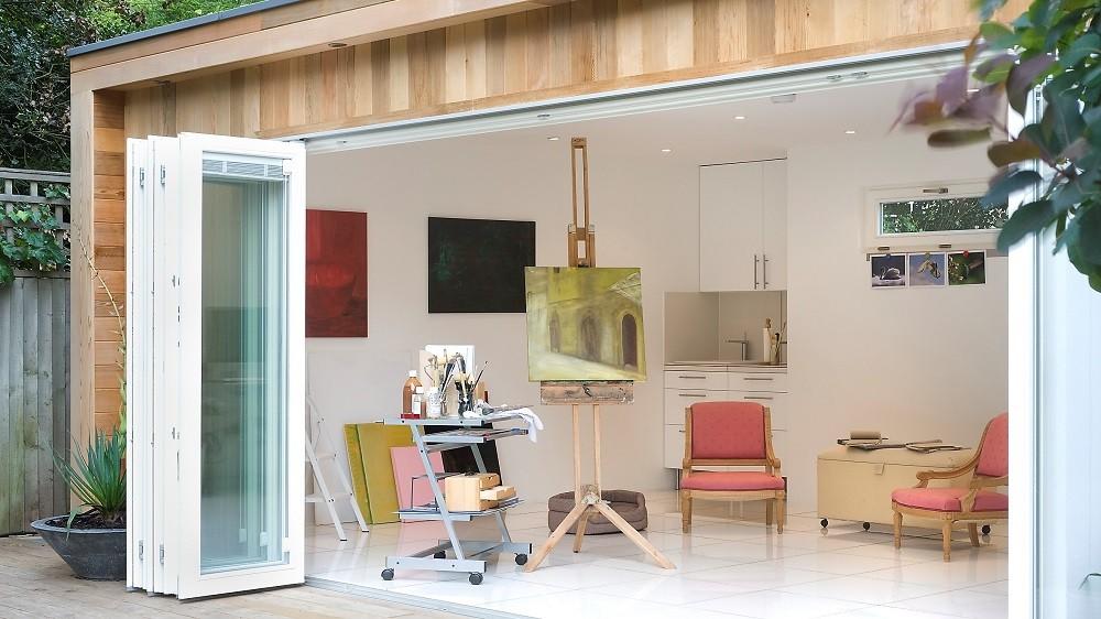 Garden artist's studio with bifolding doors