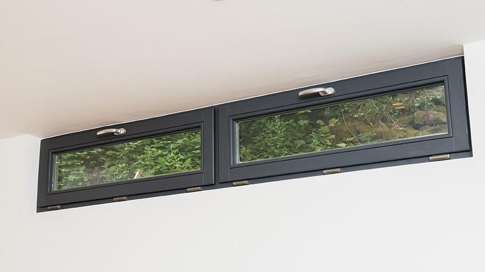 High level windows for a garden room - interior detail