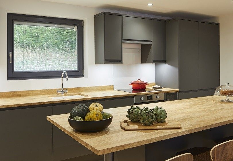 Holiday home contemporary kitchen with island