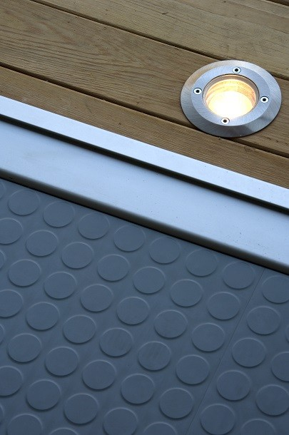 Garden studio deck light and rubber floor detail