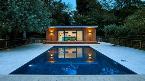 Bespoke pool side room in Essex with swimmingpool