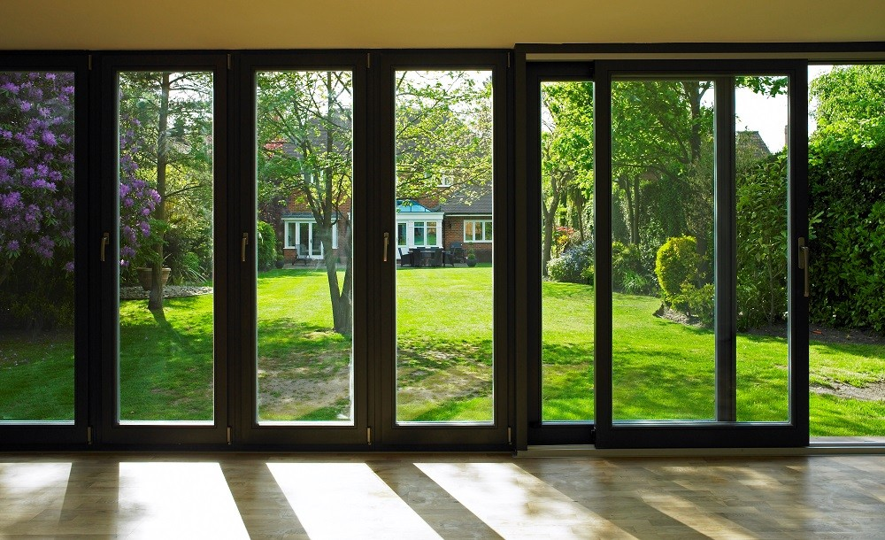 Double glazed bifolding doors in a Cuberno garden studio