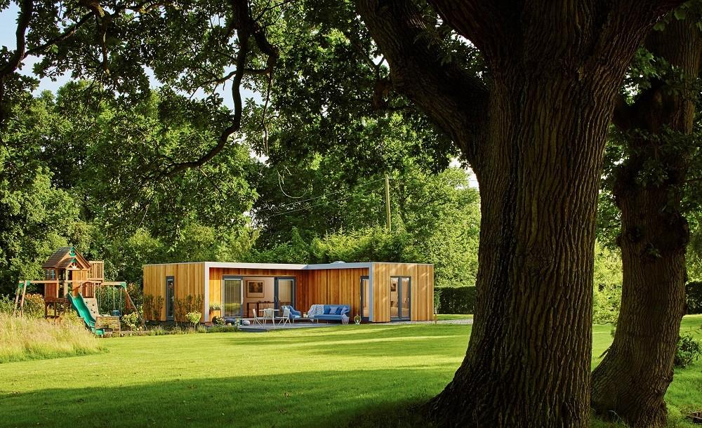 L shaped bespoke garden annexe