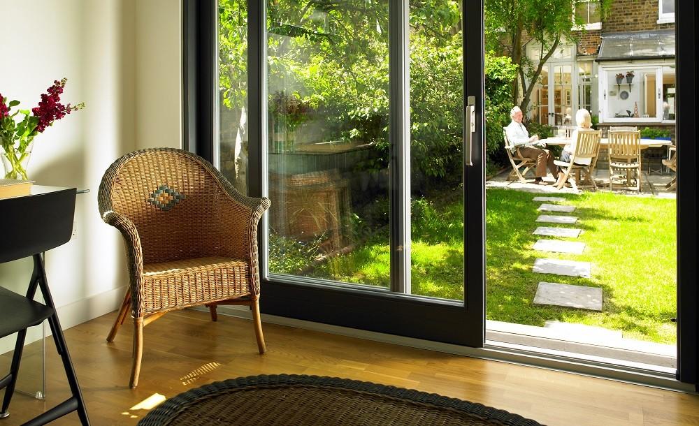 Double glazed sliding door in a Cuberno garden room