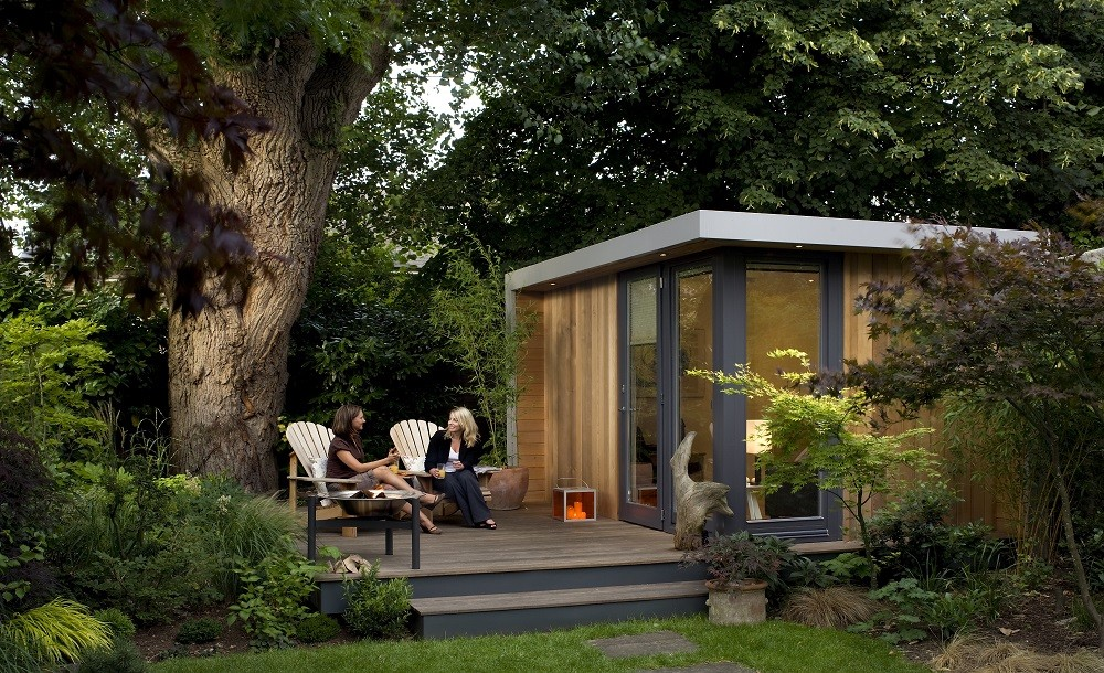 Luxury garden room with raised decking area
