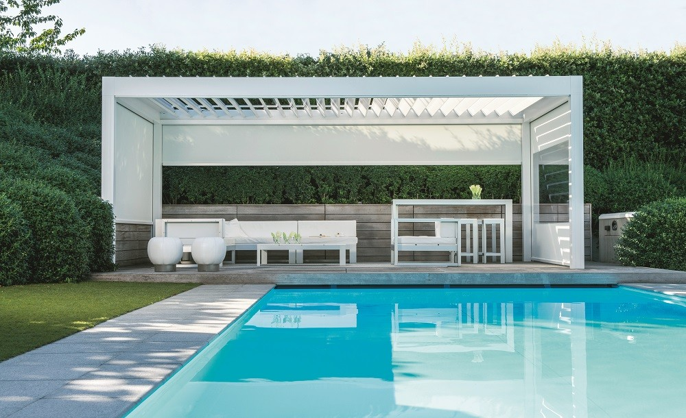 poolside pavilion for sun and rain protection