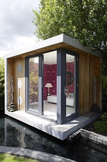 Solo garden office in a beautifully landscaped garden