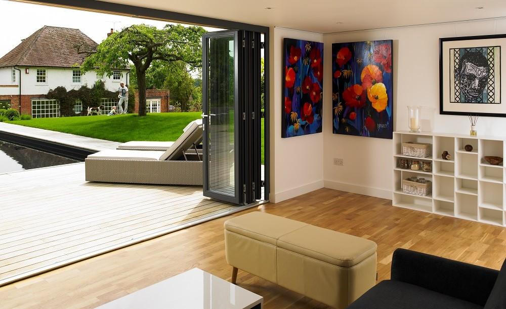 Poolside room with bifolding doors