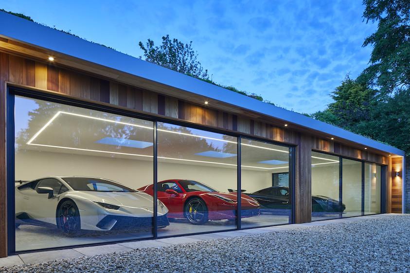 Garden room garage for luxury cars