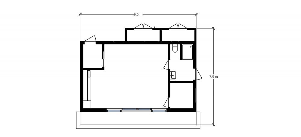 Floor plan garden poolside room in Saffron Walden