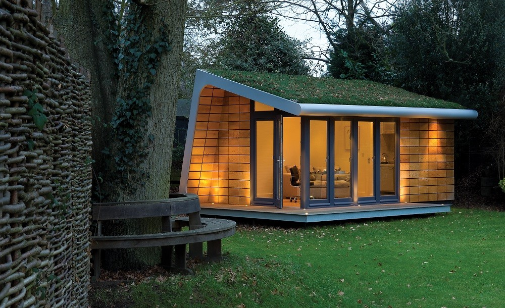 Bespoke garden office with green roof