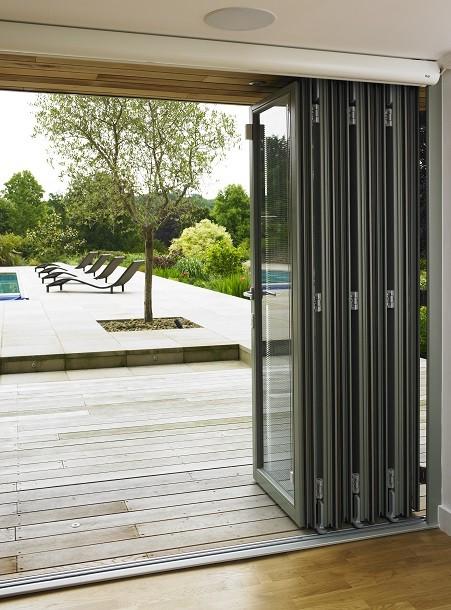 Bifolding doors system in an outdoor studio in Oxfordshire