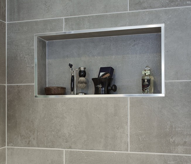 Recessed shower shelf for a bespoke garden annexe