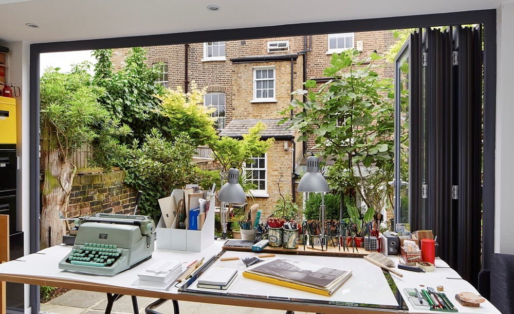 London garden office with folding doors