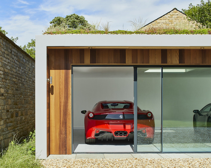 Outdoor garden garage for sport cars Ferrari