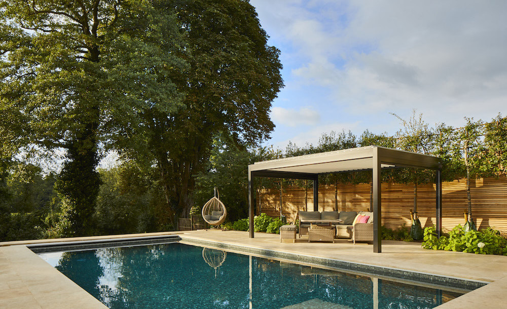 poolside pavilion for sun, wind and rain protection