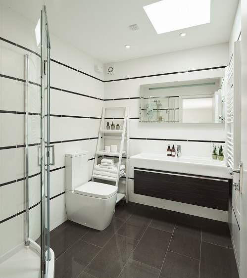 Bespoke shower room for a garden annexe designed by Rooms Outdoor