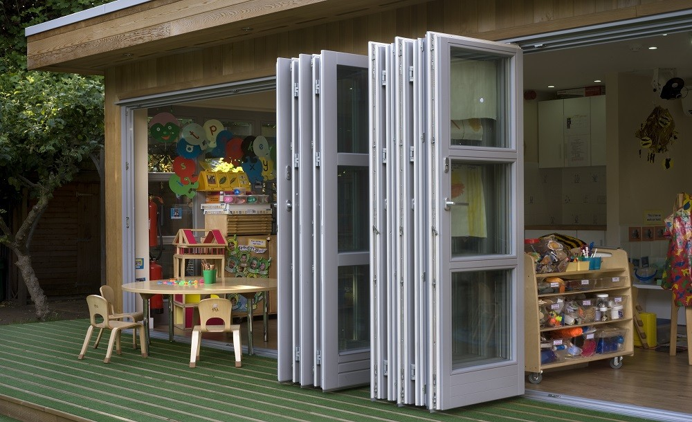 folding door for extra light in an eco class building