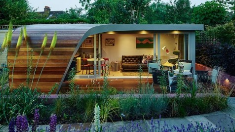 Bespoke home office landscaped into a beautiful garden in Chiswick