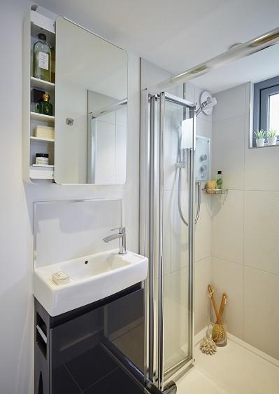 Garden room with a standard shower room design
