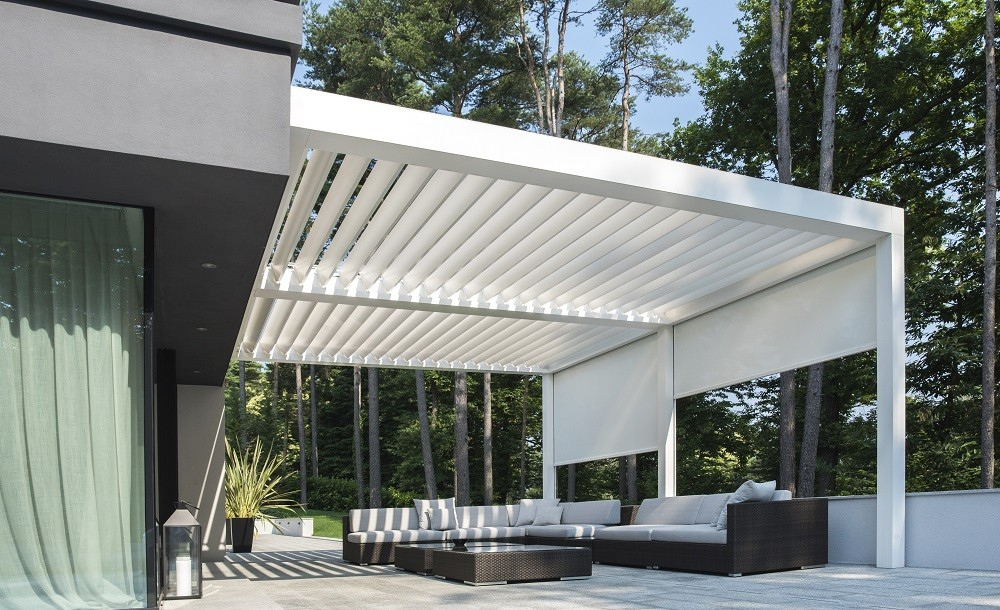A stylish louvered pavilion that protects you from the sun and rain all year round