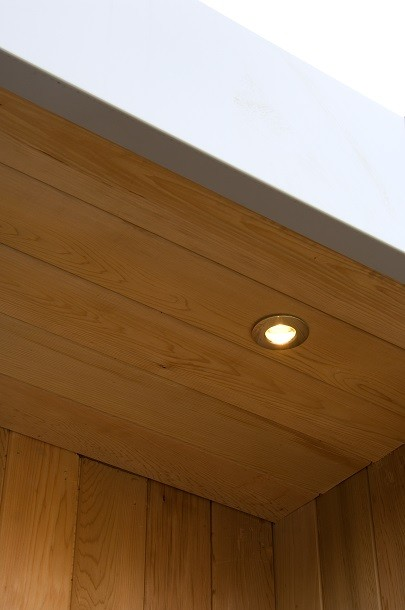 Detail of a garden studio overhang with external light