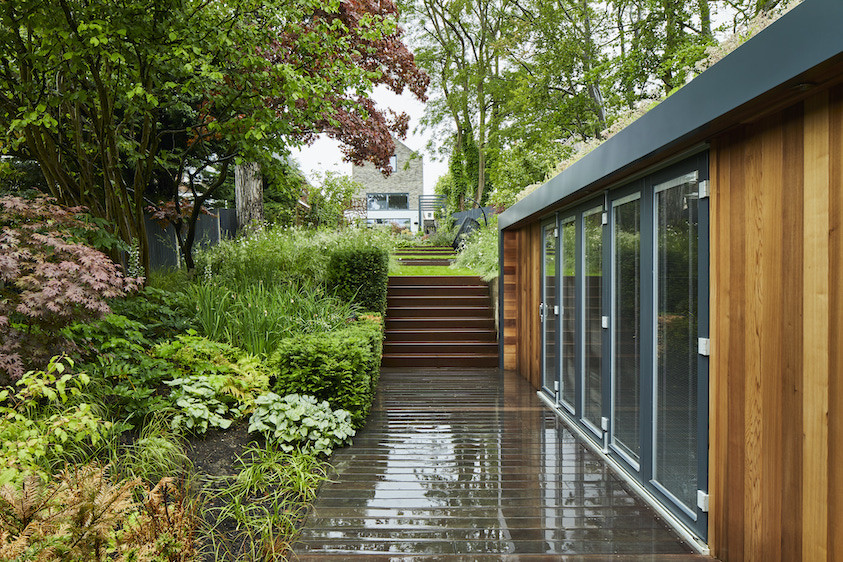 Garden office with folding doors and Western Red Cedar cladding