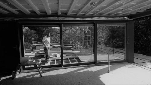 sliding doors in an open living space in Stonehenge