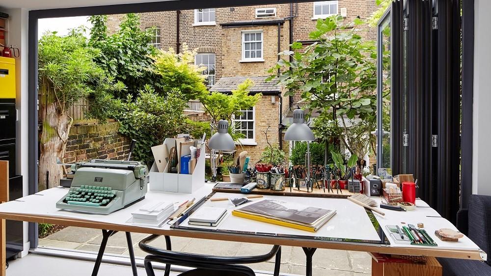 Garden office with bifolding doors