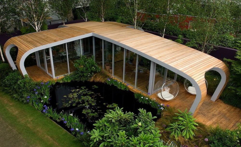 Curved bespoke garden room  designed for  the Chelsea flower show