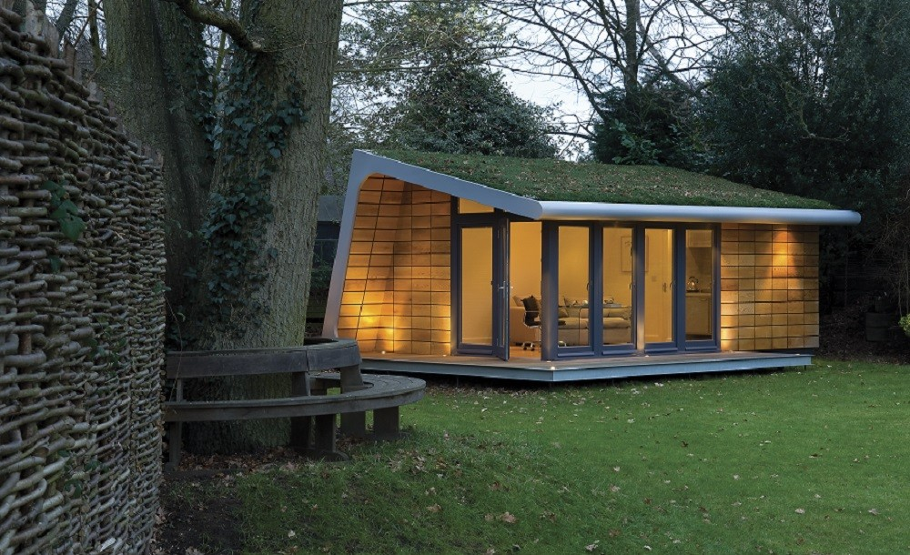 Bespoke garden studio with sedum roof