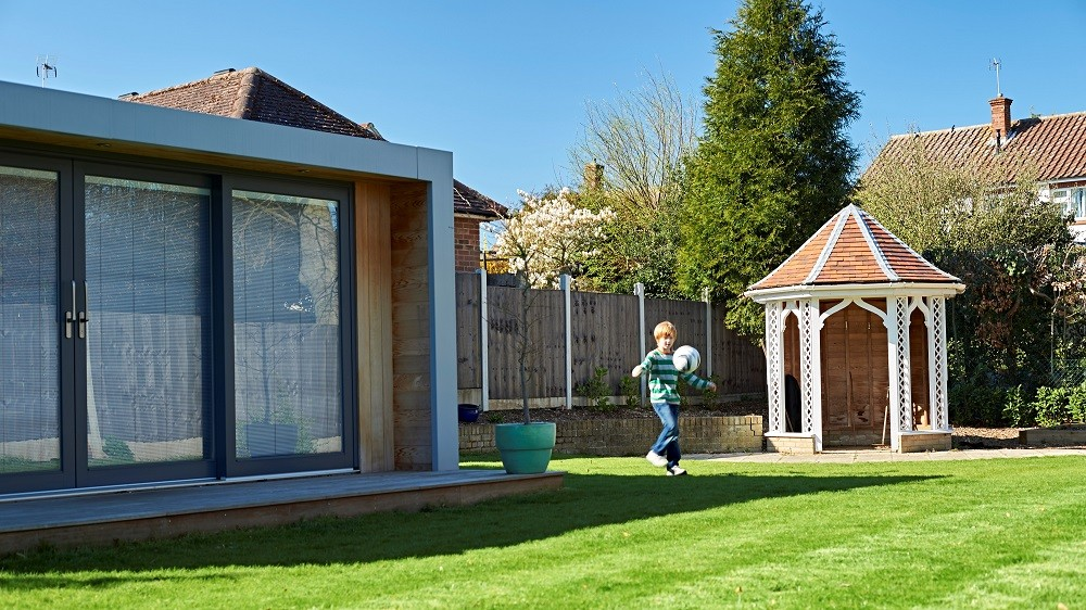 Sliding doors with integral blinds in a Cuberno garden office