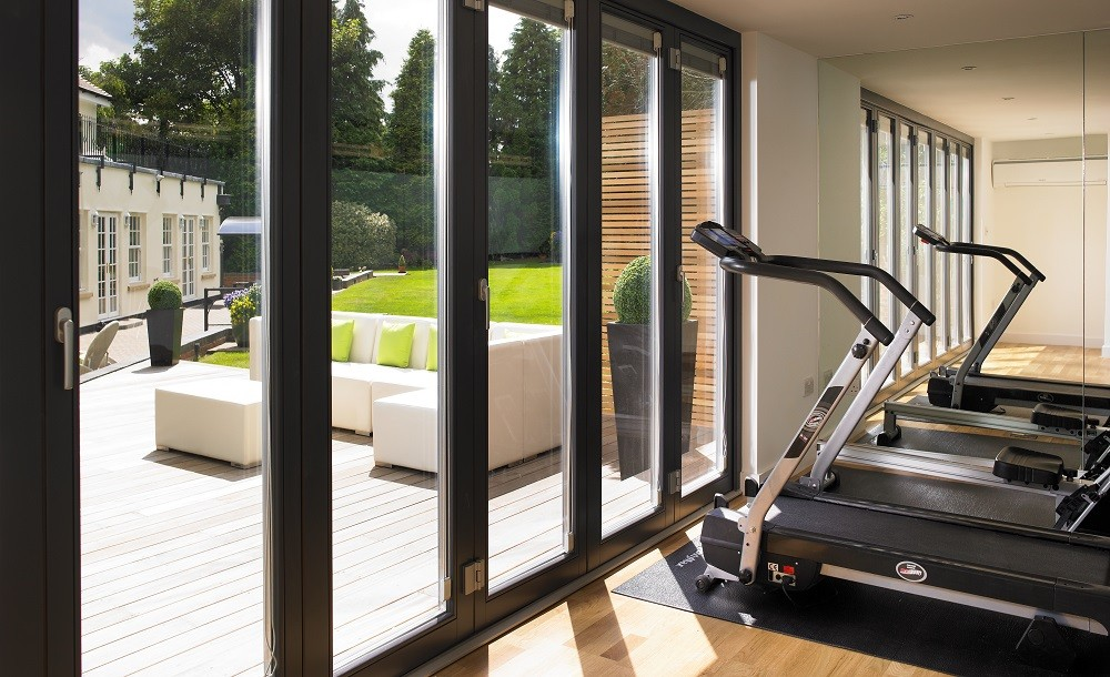 Garden gym with folding doors